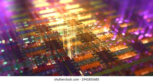 Computer chip with light rays streaming out, high tech background. Macro shot of microchip on silicon wafer. Abstract computer components. 3D rendering