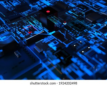 computer chips and parts in a bright blue glow. 3D rendering on the theme of computers and large computing technology