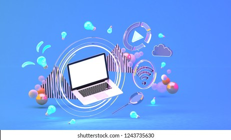 Computer in a circle of light Among the social media icons and colorful balls on the blue background.-3d rendering.