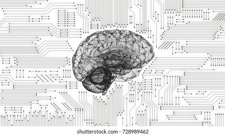 Computer circuit board brain image in black and white