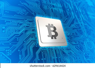 Computer Circuit Board with CPU and Bitcoin Logo. Blockchain Cryptocurrency Mining Concept. 3D Illustration.