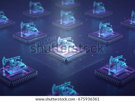 Computer Circuit Board with mutliple asic chips and oil pump jacks on top of cpu. Blockchain Cryptocurrency Mining Concept. 3D Illustration.