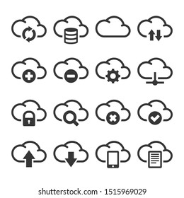 Computer Cloud Icons Set on White Background.