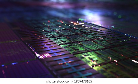 Computer CPU chip on silicon wafer. close up shot of electronic system with data processing. Chip, AI calculating big data abstract. 3D rendering