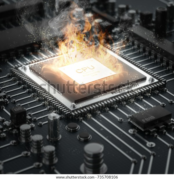Computer Cpu Overheating On Fire High Stock Illustration 735708106