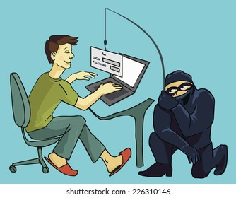 Computer Crime: Internet Phishing a login and password concept business concept of internet scam with phising