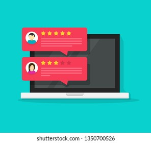 Computer with customer review rating messages illustration, flat cartoon design of laptop pc display and online reviews or client testimonials, concept of experience or feedback, rating stars image