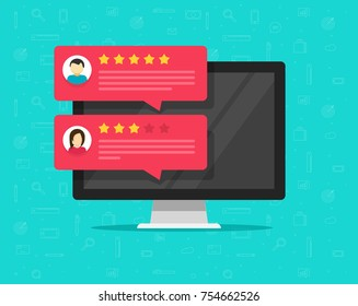 Computer and customer review rating messages, flat cartoon of desktop pc display and online reviews or client testimonials, experience or feedback, rating stars, survey comments image