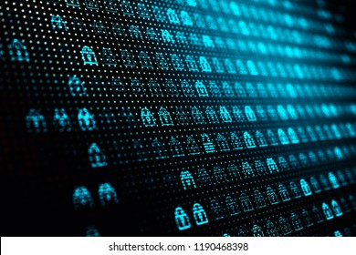 Computer data access protection and network security concept, background with lots of symbols of blue closed locks on the screen, 3d illustration