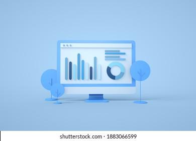 Computerdatenanalyse, Graph auf Computerbildschirm, Digitale Analyse, Vektorbanner 3D Rendering.