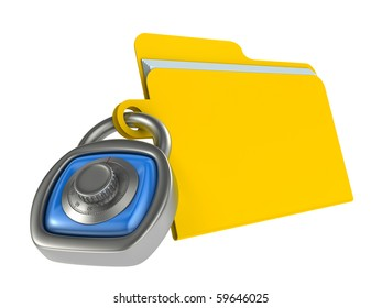 Computer data security concept. Computer folder and padlock with combination code.
