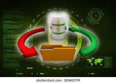 Computer Database with yellow Folder