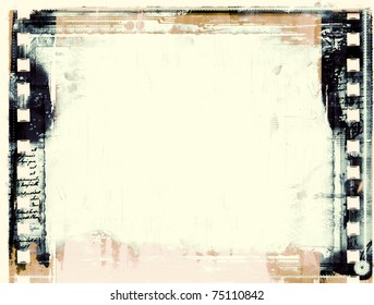 Computer designed highly detailed grunge film frame  with space for your text or image.