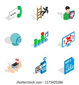 Computer designer icons set. Isometric set of 9 computer designer icons for web isolated on white background