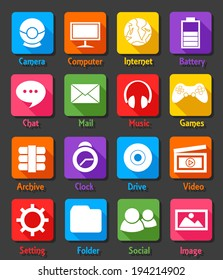Computer Desktop Flat Design Icon Set