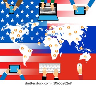 Computer Devices With Map Table Hacking 3d Illustration. Cyber Crime  Criminal Campaign by Russian Government To Hack Elections In The USA Using Illegal Online Spying.