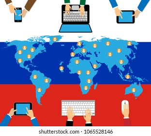 Computer Devices With Russia Map Table Hacking 3d Illustration. Cyber Crime  Criminal Campaign by Russian Government To Hack Elections In The USA Using Illegal Online Spying.