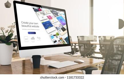 computer with digital website builder website screen at business office 3d rendering