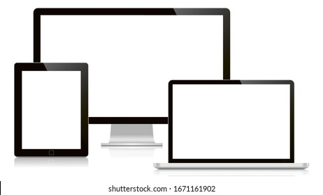 Computer display, laptop and tablet. Isolated on a white background, Front view.