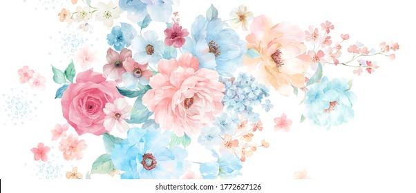 Computer drawn flower illustration. Watercolor Flowers.Manual composition.Big Set watercolor elements.