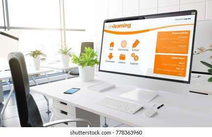 computer with e-learning intranet 3d rendering.