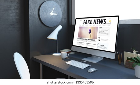 computer with fake news on desktop at navy room 3d rendering
