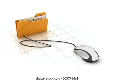 Computer Folder with Compuer Mouse. High Quality 3D Render