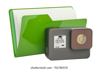 Computer folder icon with dashcam, 3D rendering isolated on white background
