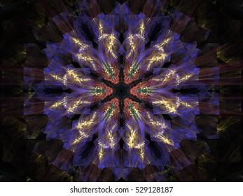 Computer fractal illustration of blue  flower on black background