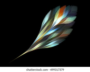 Computer fractal illustration of colorful magic feather  in watercolor style on black background