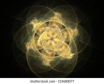 Computer fractal illustration of floral pattern on black background