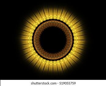 Computer fractal illustration of  sunflower on black background
