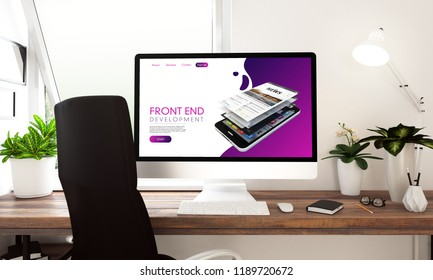 Computer with front end website on table 3d rendering