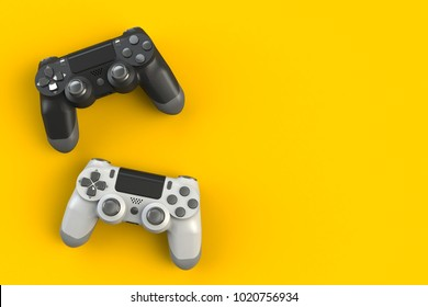 Computer game competition. Gaming concept. White and black joystick isolated on yellow background, 3D rendering