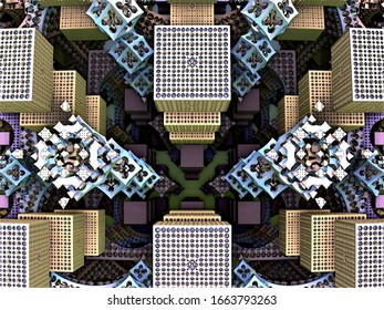 Computer- generated 3D fractal. Geometric fractal illustration of abstract squares in color.