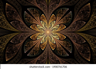 Computer generated abstract illustration Beautiful fractal Golden flower wall  pattern, Kaleidoscope design background, Abstract Concept Unique Mandala Kaleidoscopic creative inimitable graphic design