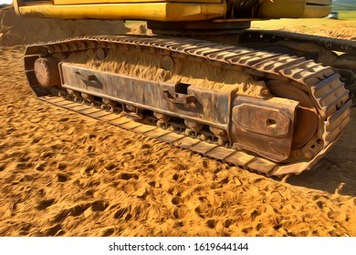 A computer generated artwork of a worn out and poorly maintained caterpillar track with sand stuck between the ribs of the tracks and on the drive.