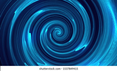 Computer generated background with abstract spiral. 3D rendering funnel of liquid or water with waves