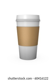 Computer Generated Coffee Cup with Cardboard Sleeve