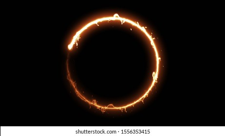Computer generated fire energy ring on black background. 3d rendering of abstract fire circle
