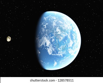 Computer generated image of earth and moon