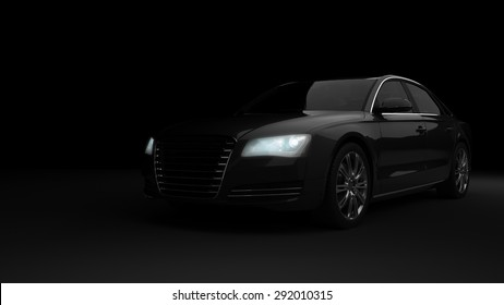 Computer generated image of a luxury sports car, studio setup, dark background.