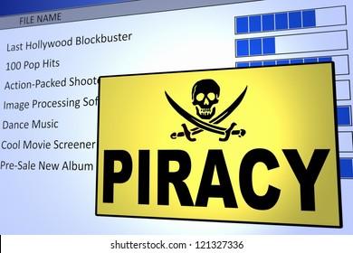 Computer generated image of a piracy alert. Concept for internet piracy.