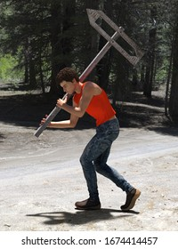 Computer generated male character in red tank top carrying a wooden pointer on a pole with carved empty arrow inside showing in the opposite direction, against a sunny forest background. 3d render.