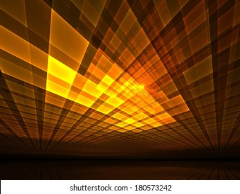 Computer generated render of golden light rays - abstract illustration for science and technology topics