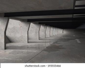 Computer generated underground car-park with wet concrete and blown debris.