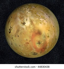 A computer graphic rendering of Io, one of Jupiter's moons