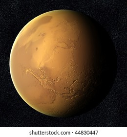 A computer graphic rendering of Mars