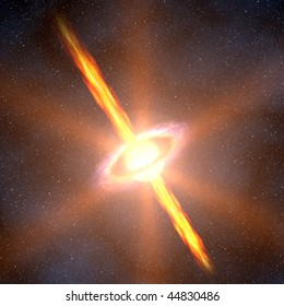 A computer graphic rendering of a quasar
