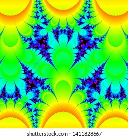 Computer graphics image of the fractal behaviour of a mathematical function, iterating complex numbers. Fractals can be drawn at limitless magnifications, revealing unexpected and beautiful detail.
